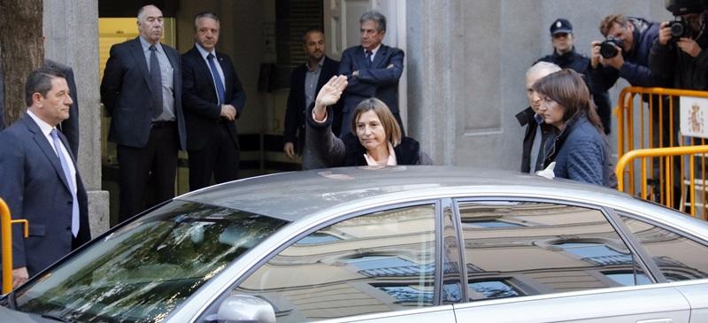 La presidenta del Parlament, Carme Forcadell, en el moment de la seva arribada al Tribunal Suprem el 9 de novembre del 2017. (Horitzontal)
