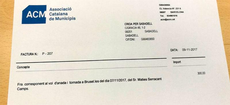 Foto portada: la factura del viatge de Serracant a Brussel·les. Autor: @crida via Twitter.