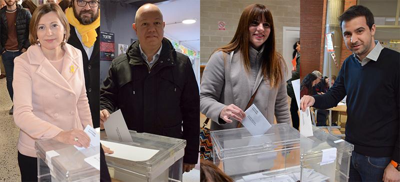 Foto portada: Forcadell, García, Vílchez i Gibert, votant aquest matí.