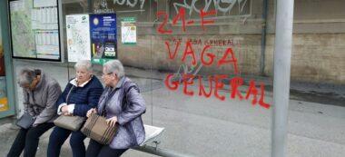 Foto portada: pintades sobre la vaga a una parada d'autobús, aquest dimecres al Mercat Central. Autor: J.d.A.