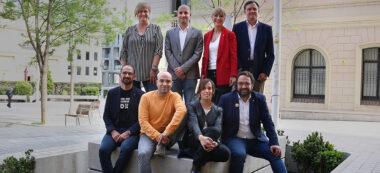 Caps de llista a Sabadell. D'esquerra a dreta: Juli Fernàndez (ERC), Marta Farrés (PSC), Joan Berlanga (Sabadell en Comú), Maties Serracant (Crida), Esteban Gesa (PP), Lourdes Ciuró (JxS), Adrián Hernández (Cs) i Marisol Martínez (100% Sabadell). Autor: ACN