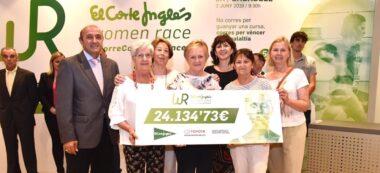 Foto portada: representants d'Oncolliga recollint el xec. Autor: cedida.