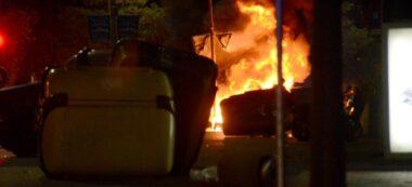 Contenidor cremant a la Gran Via el 16 d'octubre. Autor: David B.
