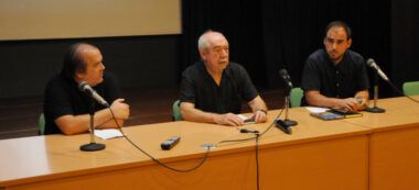 David Bisbal, Manuel Navasa i Jordi de Arriba en la resentació del documental de la FAV. Autor: E. Barnola.