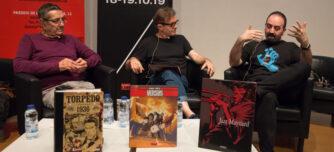 Els tres autors durant la xerrada 'Del guió a la vinyeta' en el marc de Sabadell Negre.