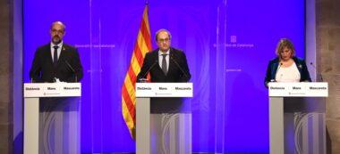 Pla general de la roda de premsa del president de la Generalitat, Quim Torra, amb els consellers Miquel Buch i Alba Vergés el 18 de juny de 2020 (Horitzontal)
